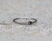 February Birthstone Stacking Ring in Gold, Amethyst Ring