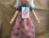 Lady Liberty Primitive Folk Art Doll