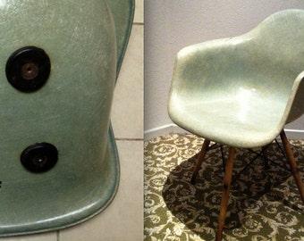 EAMES PAW SWIVEL Dowel Seafoam Green Rope Edge Chair Seng Chicago Swivel  Base Original Vintage Early