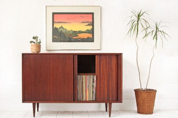 walnut tambour media console mid century danish modern. Black Bedroom Furniture Sets. Home Design Ideas