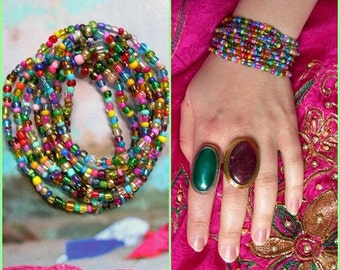 MOROCCAN NIGHTS bracelet, Colorful 8 x stretch Hippy Gypsy bracelet, ready to ship, bright glass beads, 132 cm long