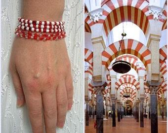 CORDOBA bracelets, Red and White, Spanish Gipsy, stretch bracelets, ready to ship, 5 raws Navy Seaside set