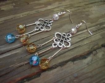 Blue-yellow-white earrings