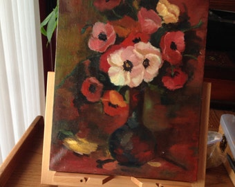 price reduced/free shipping in USA/Oil painting original flowers on canvas sold unframed