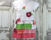 Pink Green and White Knit Tunic Top Upcycled Clothing Funky Gypsy Women's Tunic Top
