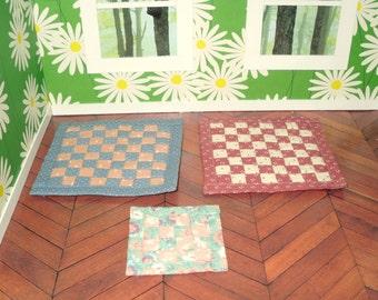 Miniature dollhouse vintage hand sewn throw rugs (3)