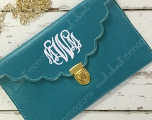 Black Friday SALE - TURQUOISE Scalloped Monogrammed Clutch Purse - Crossbody Envelope Clutch - Custom Monogram - by Mad About Monograms