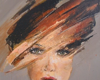 Abstract Female Portrait, Modern Art, Original Painting, Stretched Canvas Wall Hanging