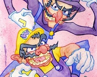 Wario & Waluigi, Nintendo, Super Mario Original Watercolor Painting