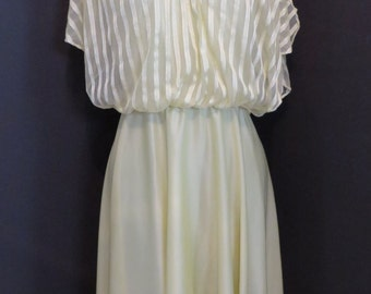 Vintage 1960's 70's Montgomery Wards yellow polyester dress S M
