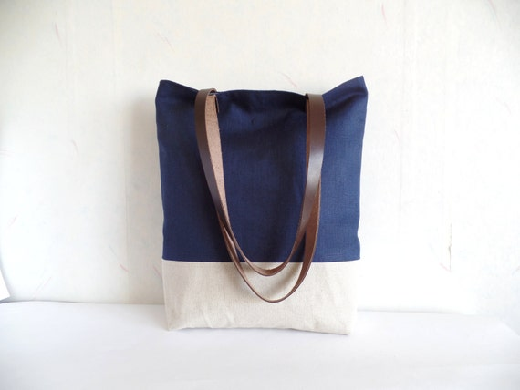 Navy tote navy blue bag leather handles colorblock tote
