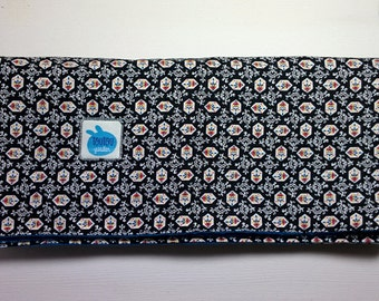 Soft baby blanket with vintage pattern print cotton and deep blue flannel. Lightweight. Handmade