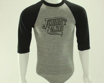 70's Johnny Cash Raglan T-Shirt M