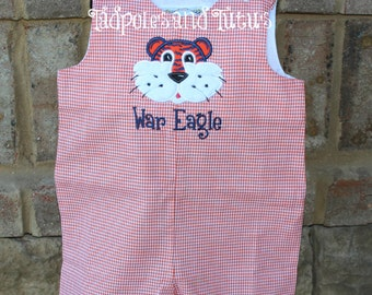Personalized Tiger Gingham Shortall