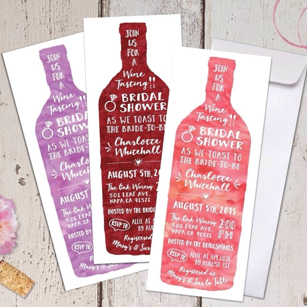 wine tasting theme bridal shower invitations modern, Bridal shower invitations