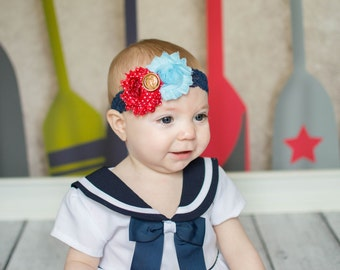 MADE 2 order sailor girl lace flower headband anchor accent halo baby girls kids child adult photography prop nautical yacht club