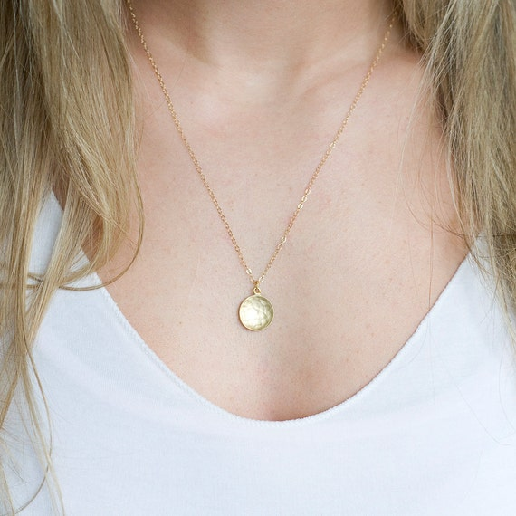Delicate Gold Coin Pendant Necklace