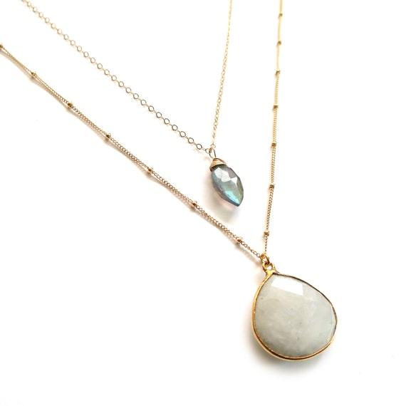 Moonstone Labradorite Layer Necklace