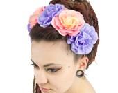 Headband camellia big flower yellow, orange, plum, gypsy, bohemian, wedding, crown, fairy and pixie, hippie, hair flower accessory, boho