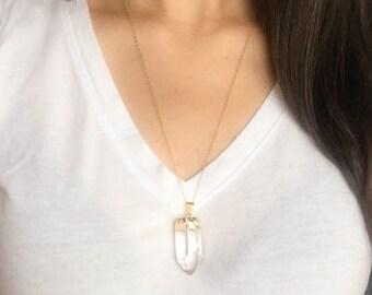 Gold Dipped Quartz Necklace - Clear Quartz - Crystal Quartz Necklace - gold fill chain