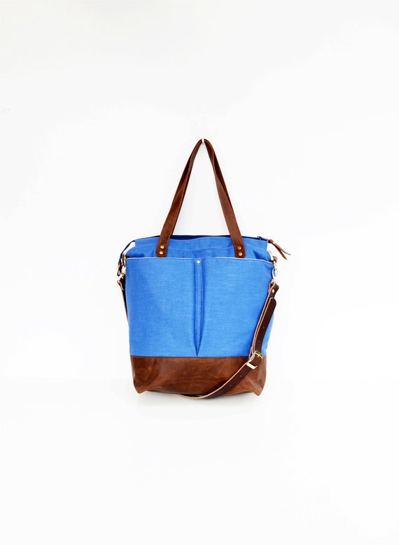 Royal Blue linen and leather diaper bag tote bag nappy bag