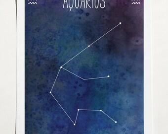 Aquarius Zodiac Star Sign Constellation art print - 8 x 10