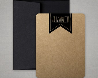 Personalized Stationery Notes or Thank You Note Cards on Kraft Cardstock - Personalized Stationary