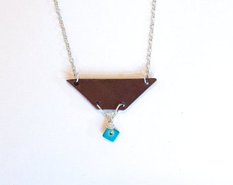 Leather, Turquoise & Silver Geometric Necklace
