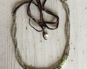Peruvian Opal and Pyrite Sea Mist Necklace/Bracelet one of a kind hand made by ladeDAH! jewelry