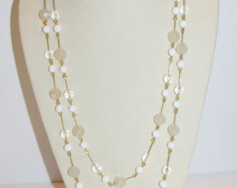 Joan Rivers Beaded Necklace - White and Clear 60 Inches - S1116