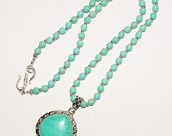 Turquoise Necklace with Removable Pendant - S2385
