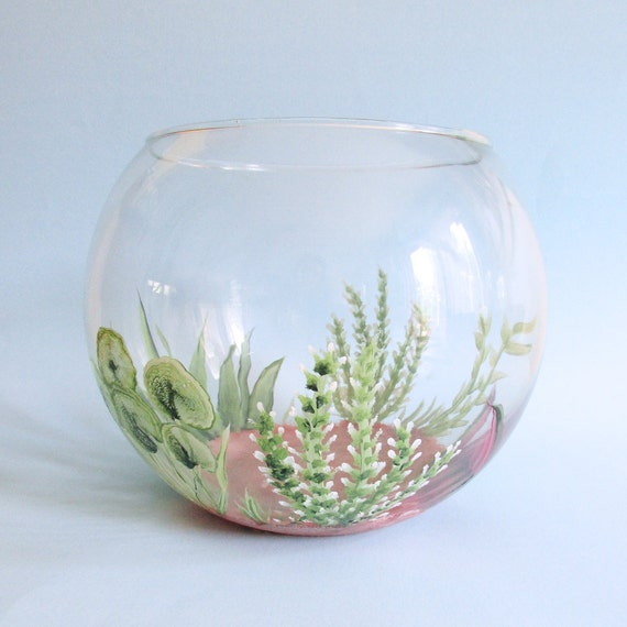 Hand painted fish bowl decorative fish tank aquatic theme for Fish tank paint