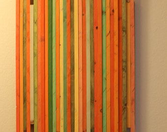 Modern abstract wood wall art Oranges