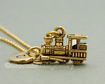 Steam train Necklace, train, steam engine, antique gold, initial necklace, initial hand stamped, personalized, monogram
