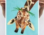 Clever Giraffe : Art Print Poster A3 Illustration Giclee Print Wall art Wall Hanging Wall Decor Animal Painting Digital Art