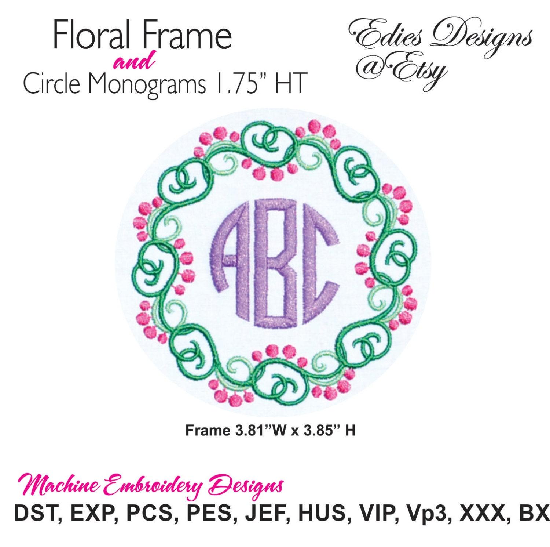 Shop Floral Monograms At Littlebrownnest Etsy Com: Floral Frame AND Circle Monograms Monogram Font BX Format