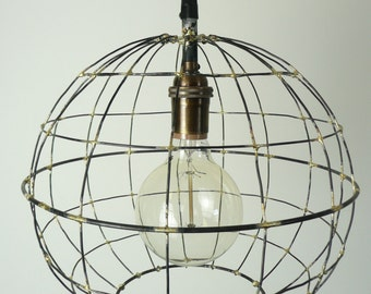 Orb pendant light, sphere hanging light, round metal caged light, industrial hanging light