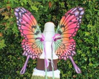 Custom Hand Painted purple, pink, orange and green Swallowtail Butterfly Inspired Wings