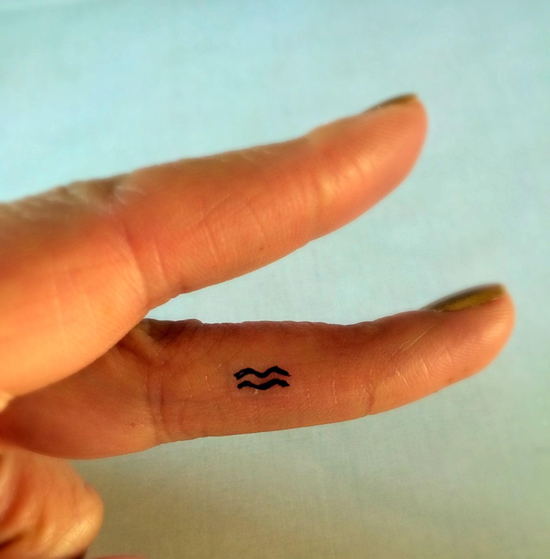 Aquarius temporary tattoo tiny fake tattoos finger tattoos for Temporary finger tattoos