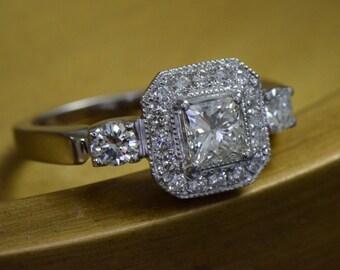 Art Deco-Inspired Princess Cut Diamond Ring (18K White Gold)
