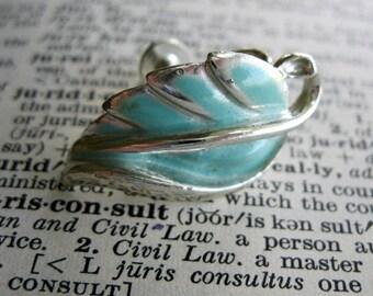 Blue and Silver Leaf Screw Back Vintage Earrings