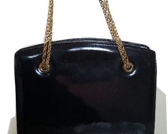 1960 60s vintage bag black patent leather gold chains