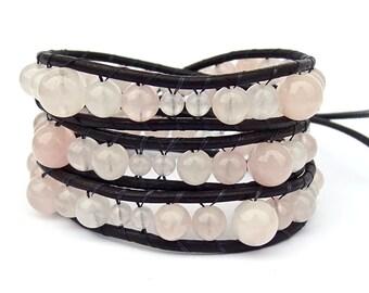 Rose Quartz Wrap Bracelet / Black Leather Beaded Pink Bracelet
