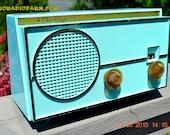 SEA Green Mid Century Retro Jetsons 1959 Airline Model GEN-1722A Tube AM Radio Works!
