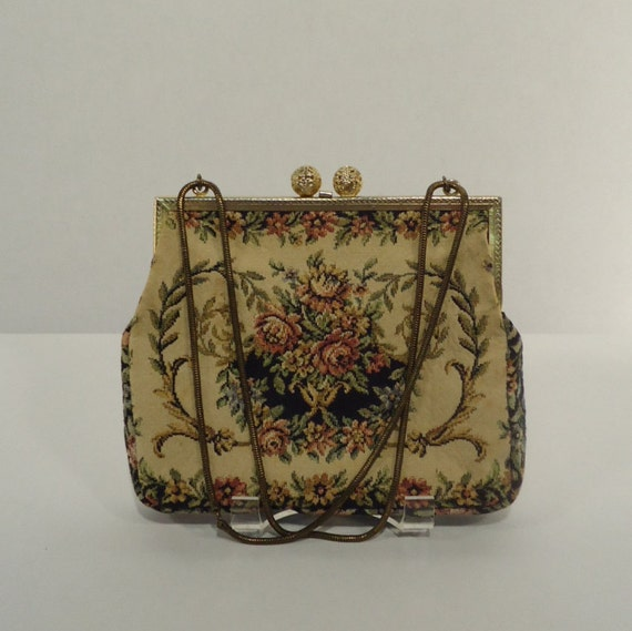 Vintage tapestry purse petit point made in W Germany