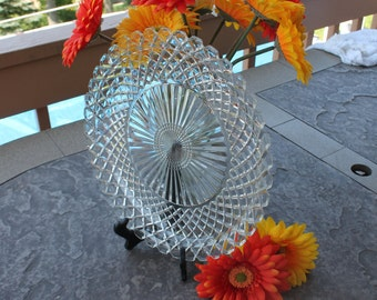 Glass Serving Dish / Platter / Tray by Hocking Glass Co. in Waterford / Waffle Pattern