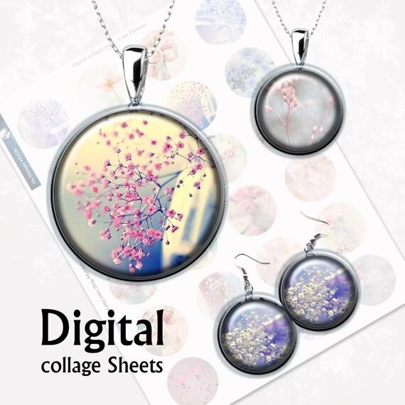 Cute Flowers Digital Collage Sheet 15 Inch 1 Inch 15 Mm