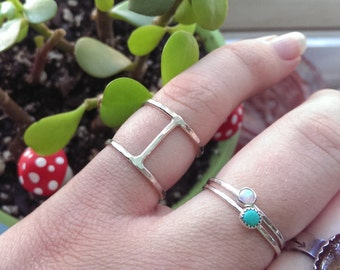 Silver Double Stacking ring- Sterling stacking ring- Sizes 3 through 9.5- Thin oxidized ring- hammered stacking ring