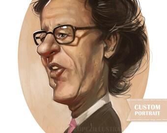 Custom Digital Illustration, Digital Portrait or Caricature, Print at Home, File Only, PDF, High Quality, Affordable Art, Print at Home,