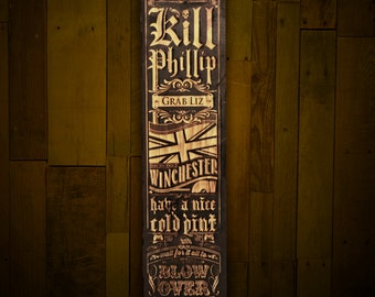 Shaun of the Dead wall plank with built in bottle opener